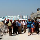 وفد قيادي من الجبهة الشعبية يتفقد الدمار في شمال قطاع غزة
