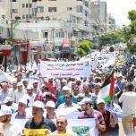 الأطر النقابية للجبهة وحماس والجهاد تنظم مسيرة حاشدة رفضاً للحصار ولإجراءات السلطة