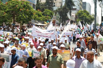 الأطر النقابية للجبهة وحماس والجهاد تنظم مسيرة حاشدة  (11)