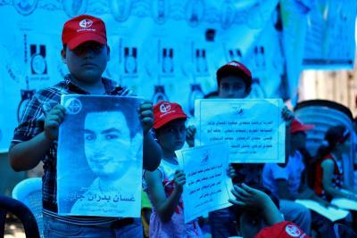 طلائع غسان كنفاني وجبهة العمل الطلابي في اسنادهم للاسرى _ تصوير خالد ابوالجديان (29084578) 