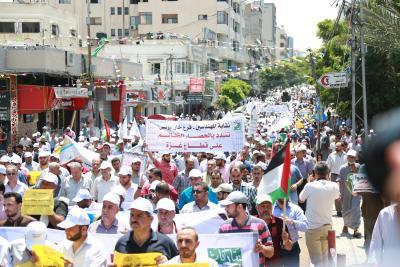 الأطر النقابية للجبهة وحماس والجهاد تنظم مسيرة حاشدة  (14)